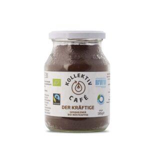 Fairtrade Bio Kaffee der Kräftige, freigestellt auf weißem Hintergrund im Mehrwegglas.