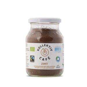 Fairtrade Bio Kaffee Zimt, freigestellt auf weißem Hintergrund im Mehrwegglas.