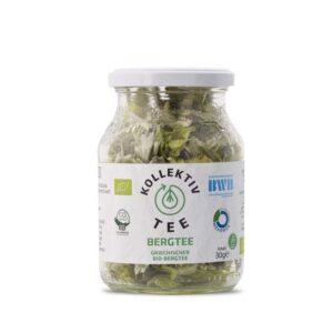 Bio Tee griechischer Bergtee, CO2 Neutral produziert, freigestellt auf weißem Hintergrund im Mehrwegglas