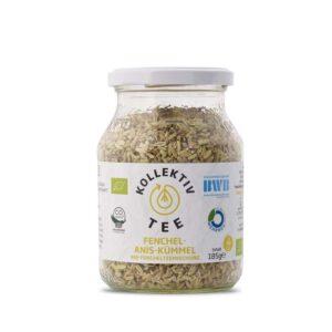 Bio Tee Fenchel / Anis / Kümmel, CO2 Neutral produziert, freigestellt auf weißem Hintergrund im Mehrwegglas