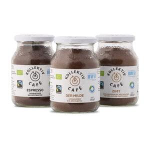 Fairtrade Bio Kaffee Probierset, bestehend aus Bio Kaffee Espresso, der Milde und Zimt.