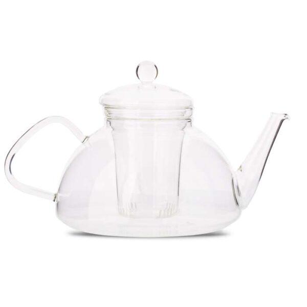 gläserne Teekanne mit Deckel vor weißem Hintergrund