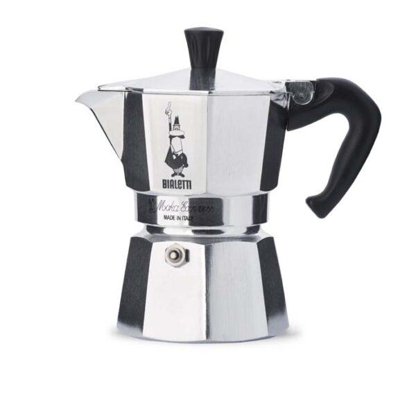Bialetti Espressokocher silber mit Bialetti Aufschrift und Symbol mit schwarzem Henkel. Weißer Hintergrund.