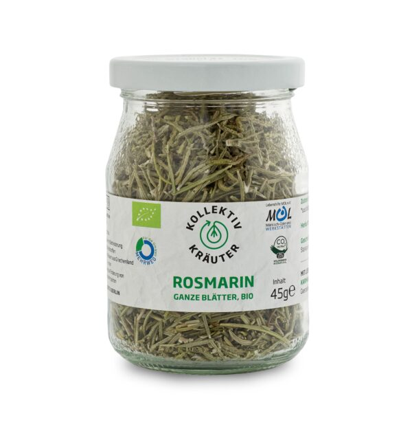 Bio Gewürz Rosmarin, CO2 neutral produziert, freigestellt auf weißem Hintergrund im Mehrwegglas.