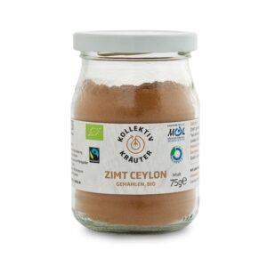 Bio Gewürz Zimt Ceylon, CO2 neutral produziert, freigestellt auf weißem Hintergrund im Mehrwegglas.